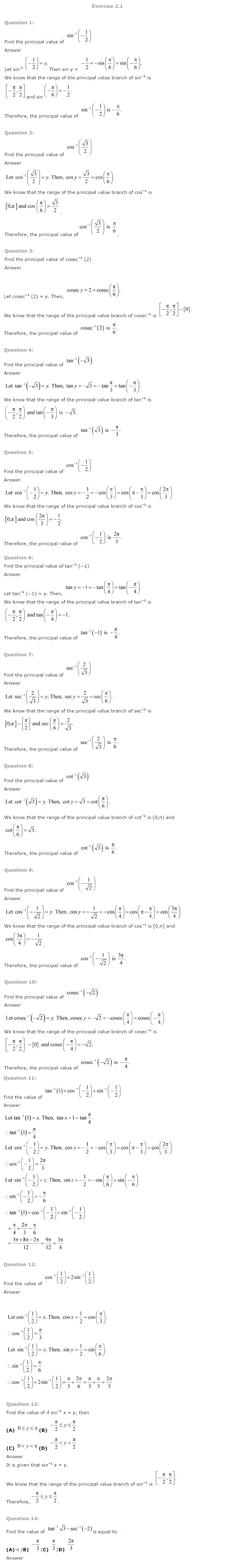 class 12 maths ncert solutions chapter 2